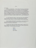 "Autographs:Authors, Speer Morgan. Typed Letter Signed, ""Speer,"" to Rolland Comstock, March 8, 2000, plain paper. Mailing folds, else fine. Fro..."
