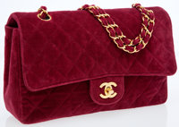 Chanel Red Velour Quilted Medium Classic Single Flap Bag with Gold Hardware