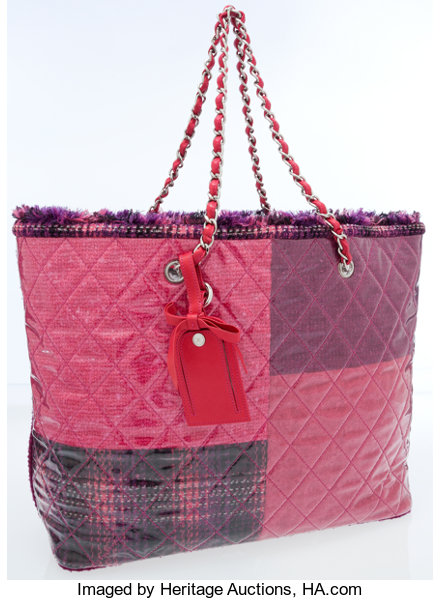 8589105bc9af9b Luxury Accessories:Bags, Chanel Pink & Purple Laminated Tweed Oversize  Tote ...