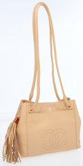 Luxury Accessories:Bags, Chanel Beige Lambskin Leather Drawstring Shoulder Bag with Tassle....