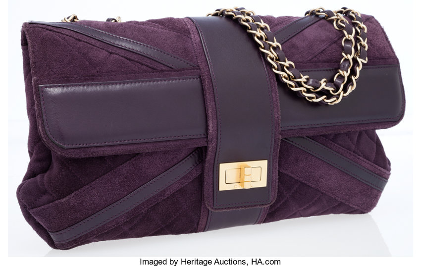 Chanel Purple Suede Union Jack Mademoiselle Maxi Flap Bag. ...  ffbb2dad32