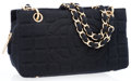 Luxury Accessories:Bags, Chanel Black Cotton CC Shoulder Bag with Matte Gold Hardware. ...