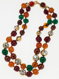 Luxury Accessories:Accessories, Chanel Gold Double Strand Necklace with Red, Orange & GreenCabochon Gripoix Beads. ...
