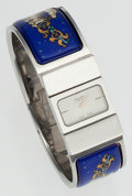 Luxury Accessories:Accessories, Hermes Blue Enamel Loquet Watch with Stainless Steel Hardware. ...