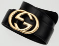 Luxury Accessories:Accessories, Gucci Black Leather Belt with Gold GG Buckle. ...