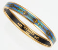 Luxury Accessories:Accessories, Hermes 70cm Blue, Gold & Green Printed Enamel Bangle Braceletwith Gold Hardware. ...