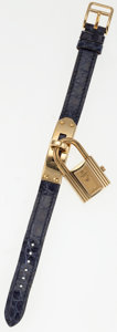 Luxury Accessories:Accessories, Hermes Indigo Crocodile Kelly Watch with Gold Hardware. ...