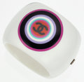 Luxury Accessories:Accessories, Chanel White Lucite Bangle Bracelet with Multicolor CC Detail. ...