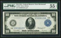 Fr. 923 $10 1914 Federal Reserve Note PMG About Uncirculated 55 EPQ