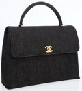 Luxury Accessories:Bags, Chanel Dark Denim Top Handle Bag with Gold CC Detail. ...