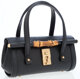 Gucci Black Embossed Leather Mini Tote Bag with Bamboo Detail