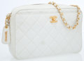Luxury Accessories:Accessories, Chanel White Caviar Quilted Shoulder Bag with Gold Hardware. ...