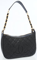Luxury Accessories:Bags, Chanel Black Quilted Caviar Leather Shoulder Bag with Gold Hardware. ...