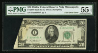 Fr. 2060-I $20 1950A Federal Reserve Note. PMG About Uncirculated 55 EPQ