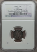 Bust Dimes: , 1835 10C -- Environmental Damage -- NGC Details. XF. JR-3. NGCCensus: (15/422). PCGS Population (48/422). Mintage: 1,410,...