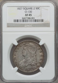 Bust Half Dollars: , 1827 50C Square Base 2 XF45 NGC. O-130. NGC Census: (202/1636).PCGS Population (258/1291). Mintage: 5,493,400. Numismedia...