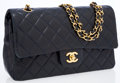 Luxury Accessories:Accessories, Chanel Navy Quilted Lambskin Leather Medium Double Flap Bag. ...