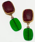 Luxury Accessories:Accessories, Chanel Gold Drop Earrings with Red & Green Gripoix. ...