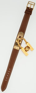 Luxury Accessories:Accessories, Hermes Gold Courchevel Leather Kelly Bracelet with Gold Lock Charm....