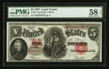 Large Size:Legal Tender Notes, Fr. 91 $5 1907 Legal Tender PMG Choice About Unc 58 EPQ.. ...