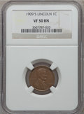 Lincoln Cents: , 1909-S 1C VF30 NGC. NGC Census: (158/707). PCGS Population(267/1190). Mintage: 1,825,000. Numismedia Wsl. Price for proble...