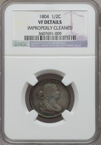 1804 1/2 C Plain 4, No Stems -- Improperly Cleaned -- NGC Details. VF. NGC Census: (28/846). PCGS Population (36/701). M...