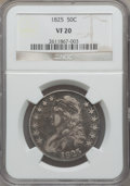 Bust Half Dollars: , 1825 50C VF20 NGC. NGC Census: (15/1041). PCGS Population (8/1228).Mintage: 2,900,000. Numismedia Wsl. Price for problem f...
