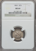Three Cent Nickels: , 1865 3CN MS64 NGC. NGC Census: (546/151). PCGS Population(521/140). Mintage: 11,382,000. Numismedia Wsl. Price forproblem...