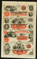 Washington, NC- The Bank of Washington $3-$4-$5-$10 G4a-G8a-G12a-G16a X1 Uncut Sheet