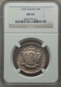 Commemorative Silver: , 1920 50C Maine MS63 NGC. NGC Census: (332/2297). PCGS Population(667/2615). Mintage: 50,028. Numismedia Wsl. Price for pro...