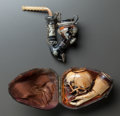 Decorative Arts, Continental, TWO MEERSCHAUM PIPES . Late 19th century. 5 inches long (12.7 cm)....