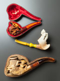 Decorative Arts, Continental:Other , THREE FEMALE FIGURAL MEERSCHAUM PIPES WITH TWO CASES . Late 19thcentury. 10 inches long (25.4 cm). ... (Total: 3 Items)