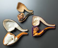 Decorative Arts, Continental:Other , THREE CASED FIGURAL MEERSCHAUM PIPES . Late 19th century. 7 incheslong (17.8 cm). ... (Total: 3 Items)