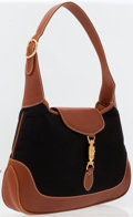 Luxury Accessories:Accessories, Gucci Classic Black Canvas Jackie Bag with Natural Brown LeatherHandle & Trim . ...