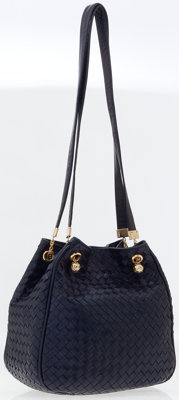 Bottega Veneta Blue Leather Intrecciato Shoulder Bag