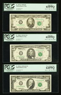Fancy Serial Number Matching 05555555 Federal Reserve Note Sextuplet PCGS Graded