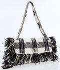 Luxury Accessories:Bags, Chanel Black & White Tweed Maxi Flap Bag with Gunmetal JewelChain Strap. ...