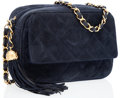 Luxury Accessories:Bags, Chanel Navy Suede Camera Bag with Tassel & Gold Hardware. ...