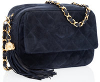 Chanel Navy Suede Camera Bag with Tassel & Gold Hardware