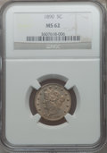 Liberty Nickels: , 1890 5C MS62 NGC. NGC Census: (32/238). PCGS Population (38/316).Mintage: 16,259,272. Numismedia Wsl. Price for problem fr...