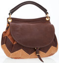 Luxury Accessories:Bags, Miu Miu Brown Patchwork Leather Top Handle Bag with Shoulder Strap....
