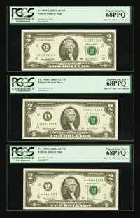 Fancy Serial Number Fr. 1938-L $2 2003A Federal Reserve Notes Nine Examples PCGS Graded