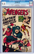 Silver Age (1956-1969):Superhero, The Avengers #4 Twin Cities pedigree (Marvel, 1964) CGC NM 9.4Off-white to white pages....