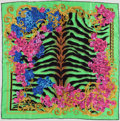 Luxury Accessories:Accessories, Versace Green, Black & Pink Silk Scarf . ...