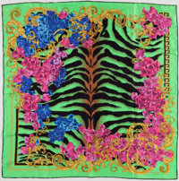 Versace Green, Black & Pink Silk Scarf