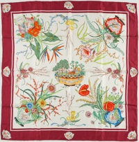 Gucci Red and White Silk Scarf