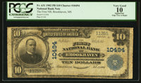 Brookhaven, MS - $10 1902 Plain Back Fr. 631 The First NB Ch. # 10494