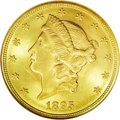 Liberty Double Eagles: , 1895 $20 MS64 NGC. Lustrous and fully struck, showing a couple ofluster grazes on the obverse. Rich green-golden patina sh...