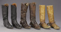 "Western Expansion:Cowboy, VINTAGE COWBOY BOOTS AND SPURS - . a) High top boots; 18½"" tall;circa 1890; Fancy stitching; Great profile; Classic st... (Total: 3Items)"