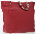 Luxury Accessories:Bags, Chanel Red Caviar Leather Tote Bag with Large CC Detail. ...